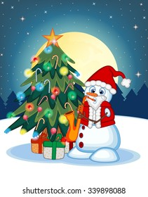 Snowman Wearing A Santa Claus Costume Playing Saxophone With Christmas Tree  And Full Moon At Night Background For Your Design Vector Illustration