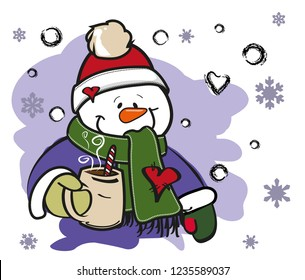 Snowman wearing Santa hat and  drinking hot coffee in winter