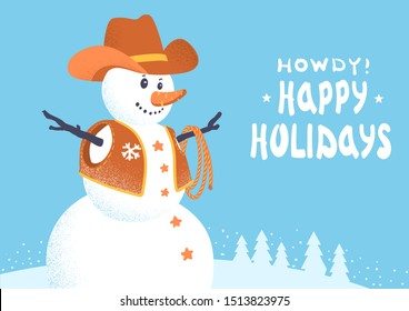 Snowman in western cowboy clothes. Vector Merry Christmas card with winter snow background and text