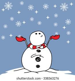 Snowman, Winter snowman, christmas snowman cartoon illustration