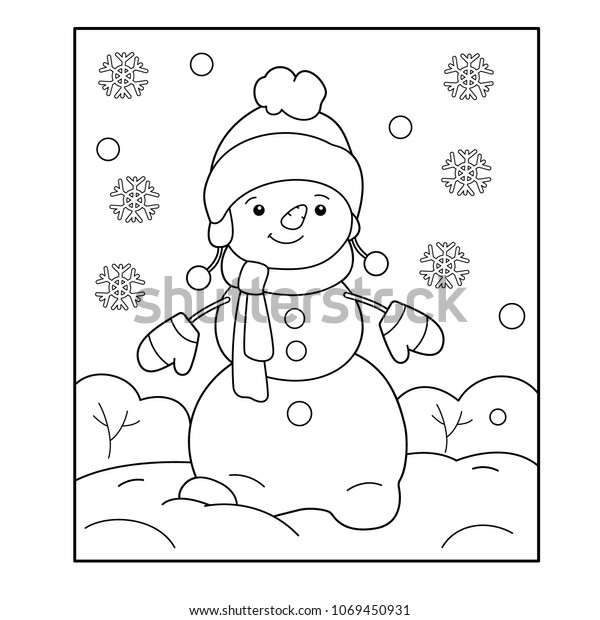 - Snowman Winter Coloring Book Kids Stock Vector (Royalty Free) 1069450931