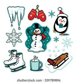 Snowman winter fun illustration set sled ice skates hot cocoa