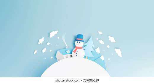 Snowman and Winter landscape with paper art style and pastel color scheme vector illustration
