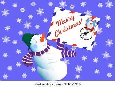 The snowman, wishes Merry Christmas