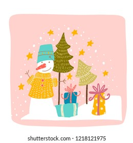 a snowman in a yellow sweater with a blue bucket stands next to the gifts on a pink background . behind Christmas trees, stars, snow