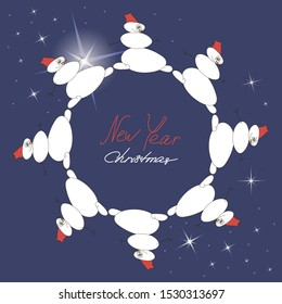 Snowmen in a circle, dancing white snowmen on a dark blue background with flashes of stars. Merry Christmas and New year greeting card, template, vector flat illustration