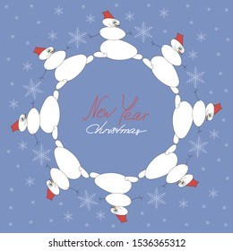 Snowmen in a circle, dancing white snowmen on a blue background with snowflakes. Christmas and New year greeting card, template, vector flat illustration. Copy space