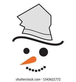 Snowmen face. Simple drawing illustration.