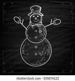 Snowmen on Chalkboard Style. Cute cartoon snowmen in vector for winter design. Chalkboard drawing of cute snowman. Graphic Outline illustration