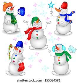 Snowmen on a White Background