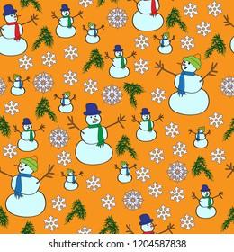 Snowmen seamless pattern on orange background with snowflakes