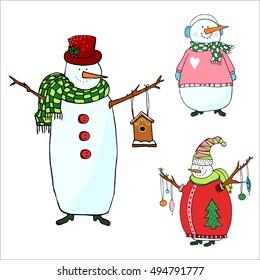 snowmen set on white background, isolated snowman for christmas design