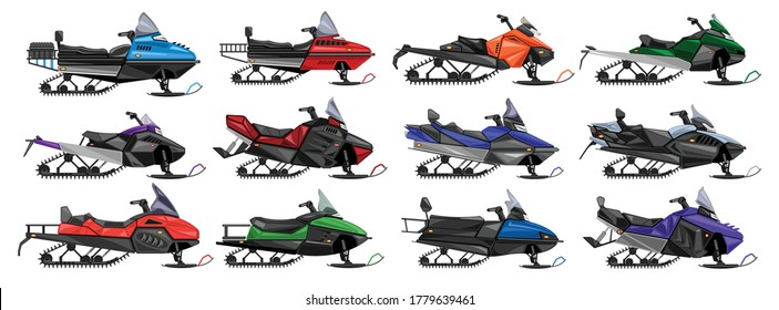Snowmobile isolated cartoon set icon.Vector illustration snow motorcycle on white background .Cartoon vector set icon snowmobile.