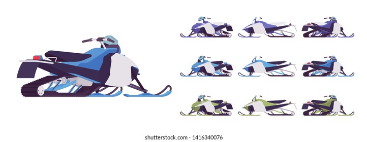 Snowmobile transport set. Motor sled, vehicle for extreme travelling on snow and ice, winter recreation. Vector flat style cartoon illustration isolated on white background, different views and color