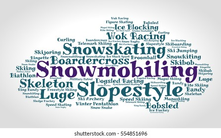 Snowmobiling. Word cloud, italic font, grey gradient background. Winter sport