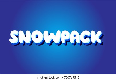 snowpack text 3d blue letters logo postcard banner concept vector creative company icon design template modern white