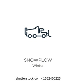 Snowplow icon. Thin linear snowplow outline icon isolated on white background from winter collection. Line vector sign, symbol for web and mobile