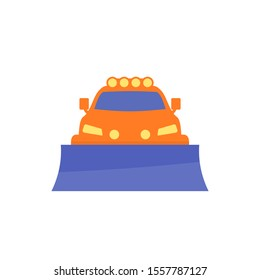 snowplow truck icon, flat style