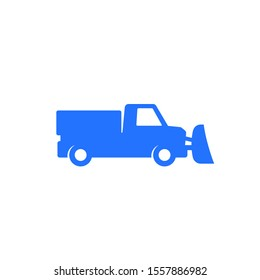 snowplow truck icon on white, vector