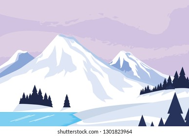 snowscape nature scene icon