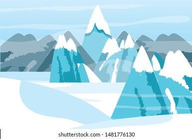 snowscape winter nature scene icon