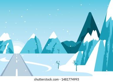 snowscape winter scene with road