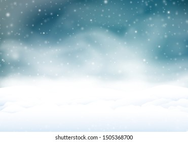 Snowstorm in the night. Winter background with snow banks in the snowfall. 3D illustration