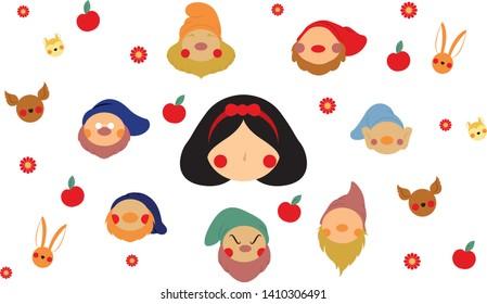 snowwhite fairy tale flat style cartoon vector