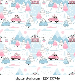 Snowy Alpine Winter Landscape with Fir trees, Mountains, Chalet and Car. Ski trip. Vector Seamless pattern drawn in cute doodle style in pastel blue and pink palette. Perfect for girl-like design