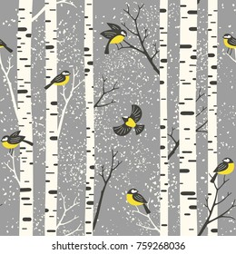 Snowy birch trees and birds on grey background. Seamless vector pattern. Perfect for fabric, wallpaper, giftwrap or postcard design.