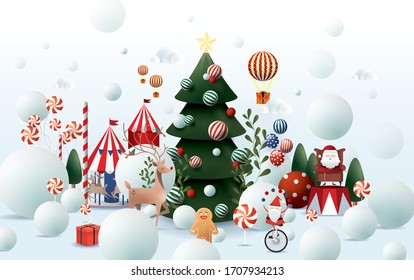 snowy christmas greetings design template vector/illustration