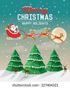 Snowy Christmas scene with Christmas tree and Santa Claus rides in a reindeer sleigh