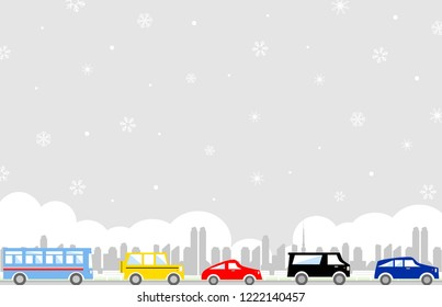 snowy city and trafic illustration