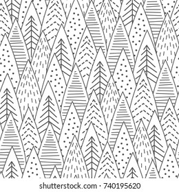 Snowy forest seamless pattern. Black and white line art.  Scandinavian winter style. Vector illustration.