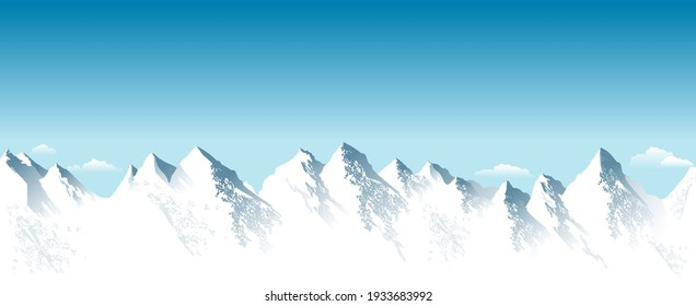 Snowy high mountains. Rocky Mountains. Blue sky. Mountain snowy landscape. Highlands.