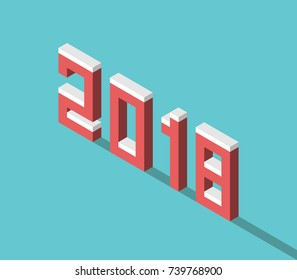 Snowy isometric red 2018 text with long shadow on turquoise blue background. New year, beginnings and celebration concept. Flat design. Vector illustration, no transparency, no gradients