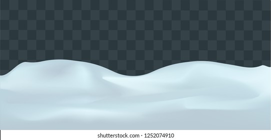 Snowy landscape isolated on dark transparent background. Vector illustration of winter decoration. Snow background. Snowdrift