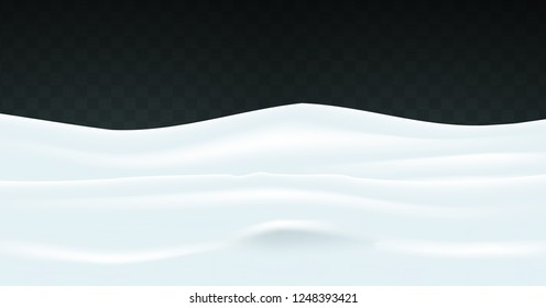 Snowy landscape isolated on transparent background. Vector  for greeting card.