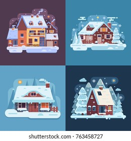 Snowy landscapes and banners with winter country house, snow cabin, forest cottage and mountain chalet. Snow-covered wood farmhouses on countryside background by wintertime in cartoon and flat style.