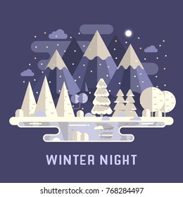 Snowy mountain lake forest landscape with peaks, wood and hills by winter night. Abstract snow nature scenery vector illustration in flat design. National park in the Alps wilderness background.