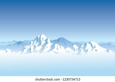 Snowy mountain range with a clear blue sky