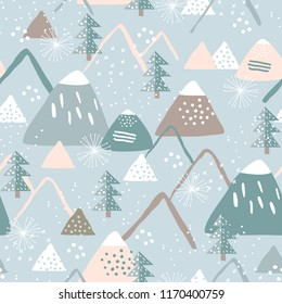 Snowy mountain seamless pattern. Perfect for cards, invitations, wallpaper, banners, kindergarten, baby shower, children room decoration. Scandinavian landscape.