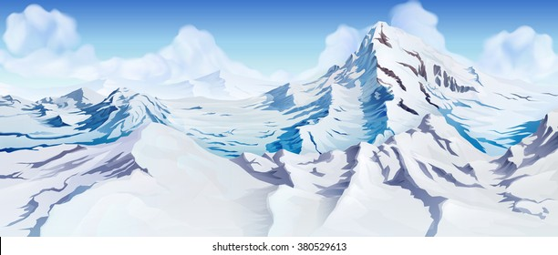 Snowy mountains landscape. Nature beautiful background