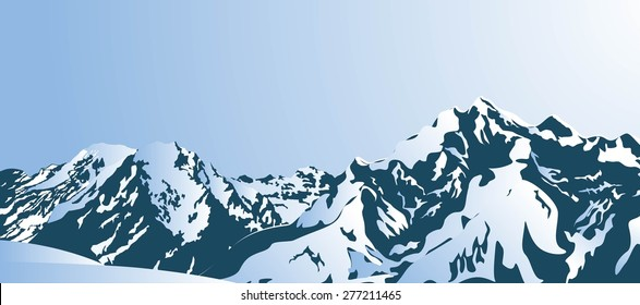 Snowy mountains in the morning. Vector illustration