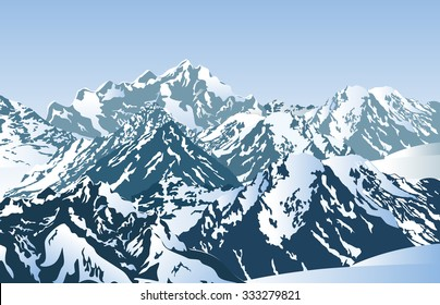 Snowy mountains in the morning. Vector illustration of winter mountain peaks.
