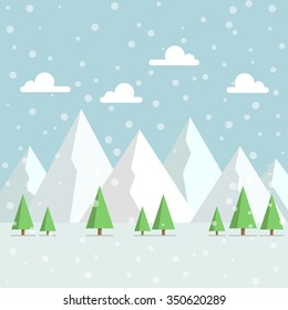 Snowy Mountains Peak with woods and falling snow from the sky flat style illustration