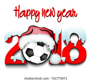 Snowy New Year numbers 2018 and soccer ball in a Christmas hat with football boots. Vector illustration