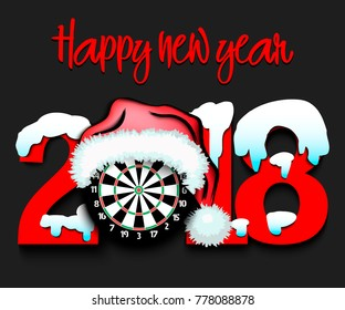 Snowy New Year numbers 2018 and darts board in a Christmas hat. Vector illustration