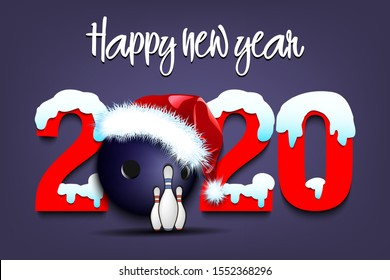 Snowy New Year numbers 2020 and bowling ball in a Christmas hat and skittles on an isolated background. Creative design pattern for greeting card, banner, poster, flyer, invitation. Vector illustration