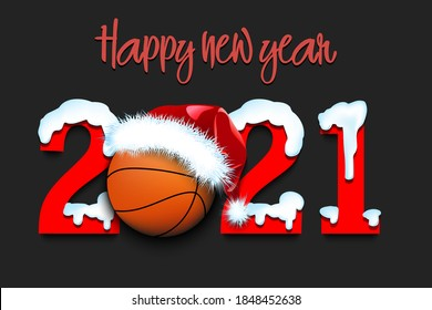 Snowy New Year numbers 2021 and basketball ball in a Christmas hat. Creative design pattern for greeting card, banner, poster, flyer, party invitation. Vector illustration